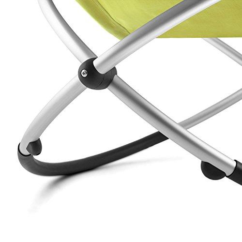 Blumfeldt Chilly Billy • Gartenliege • Liegestuhl • Schaukelliege • Relaxstuhl • ergonomische Wellenform • Sicherheitsstopper • Aluminiumrohr-Konstruktion • atmungsaktives Kunststoffgewebe • pflegeleicht • klappbar • witterungsbeständig • grün - 8