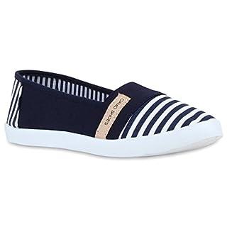 Stiefelparadies Sportliche Damen Ballerinas Glitzer Slipper Komfort Schuhe 119849 Dunkelblau Weiss Camiri 36 Flandell