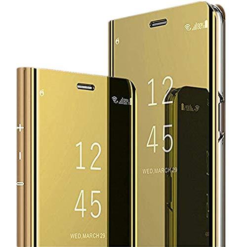 Galaxy S10 Plus Hülle Mirror Flip Schutzhülle Ganzer Körperschutz Spiegel Handyhülle Ultradünn PU Handy Schutz Löschen Clear View für Galaxy S10/Galaxy S10 Lite (Galaxy S10 Lite(S10E), Gold)