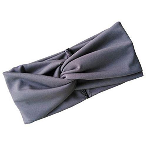 Sanwood Damen Sport elastisches Stirnband Haarband verknotetes Kopfband (Grau)