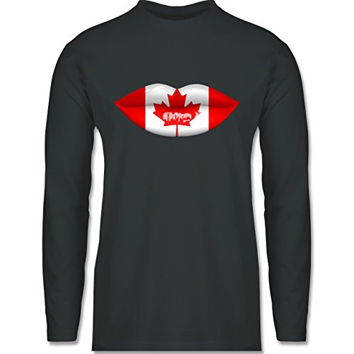 Shirtracer Länder - Lippen Bodypaint Kanada - Herren Langarmshirt Dunkelgrau