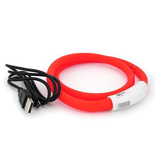 PRECORN LED USB Silicona Collar de Perro Luminoso Rojo Collar Seguridad Cuello Tubo Recargable