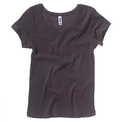 Bella + Canvas Womens/Ladies Baby Rib Short Sleeve Scoop Neck T-Shirt (L) (Chocolate)