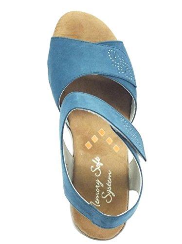 Sandali Cinzia Soft per donna in eco-camoscio jeans chiusura velcro Camoscio Jeans