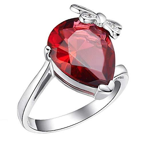 Purmy donne anello bianca placcato oro fede nuziale con rosso cubic zirconia 18k bianca placcato oro acqua gocciolina modello design dimensione 12