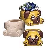 """Baker Ross Keramik-Blumentöpfe """"Mops"""" (2 Stück) – für Kinder zum Bemalen, Verzieren und Verschenken"""