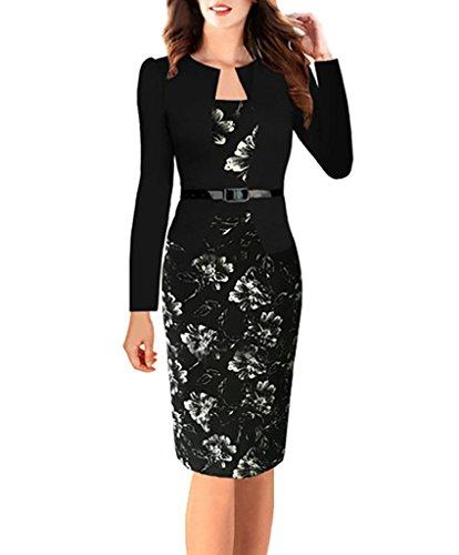Comvip donna a maniche lunghe con stampa floreale due falsi vestito dalla matita belt asia: xl: lunghezza: 99 centimetri, busto: 96 centimetri nero