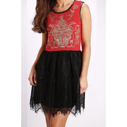 Be Jealous Damen Ärmellos Golden Dragon Spitze Ausgestellt Damen Franki Skater Rock Kleid Top Rot - Kurz Netz Spitze Rock Kleid Casual