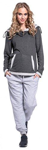 Happy Mama Damen Umstands-Hosen Joggers Niedrige Taille Seitentaschen Hose. 668p Grau Melange