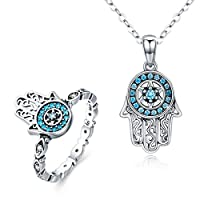 BAMOER 925 Sterling Silver Hamsa Hand Necklace Ring Adjustable Chain Necklace with Sparkling Cubic Zirconia for Women Girls Gift for Her