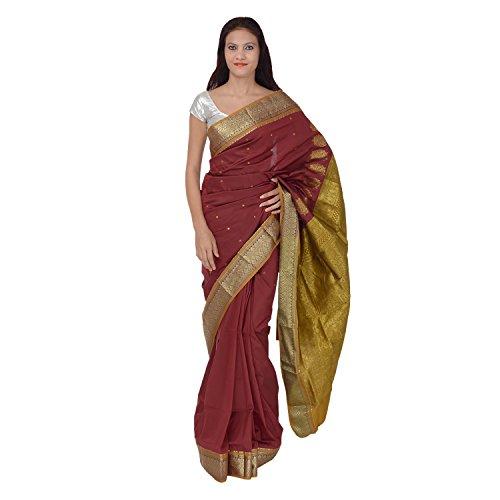 Saundarya Sarees Women South Silk Chanderi Maroon Saree