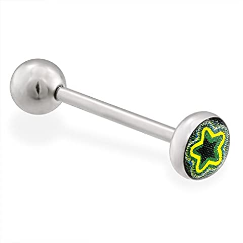 MsPiercing Layered Star Logo Tongue Ring, 14 Ga, Green