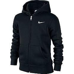 Nike 619069-010 - Sudadera con capucha para niños, color Negro (Black/White), talla M (talla del fabricante: 10-12 años/137-147 cm)