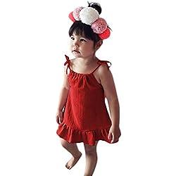 Moneycom Girls Ceremonie Mariage Sunny Fashion Mode Chic Deguisement Carnaval Enfant en Bas âge Bébé Fille sans Manches Solide Parti Princesse Tenue Vestimentaire Décontractée Rouge(2-3 Ans)
