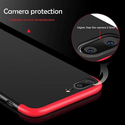 KOBWA iPhone 6s Plus/6 Plus / 7 / 7 Plus / 6 / 6S Hülle, 3 in 1 Ultra Dünner PC Harte Case 360 Grad Ganzkörper Schützend, Anti-Fingerabdruck, Anti-Scratch für Apple IPhone 6 / 7 Each Series 7plus Schwarz
