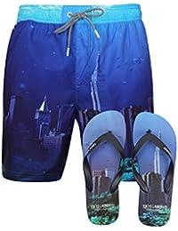 Tokyo Laundry Mens Printed Swimmming Shorts Surf Beach Board Trunks Free Flip Flops
