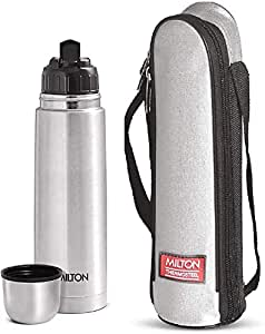 Milton Thermosteel Flip Lid Hot and Cold Flask, 1000 ml, Silver