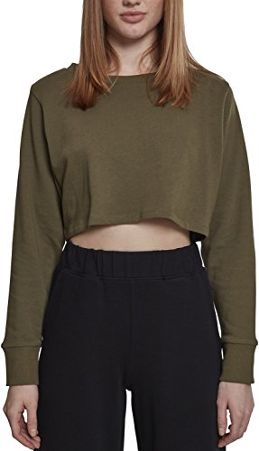 Urban Classics Damen Crop Pullover Ladies Terry Cropped Crewneck - Farbe olive, Größe S