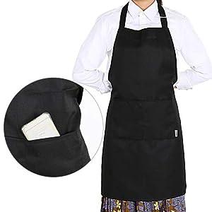 mandiles: GWHOLE Delantal Cocina impermeables con 2 Bolsillos Negro