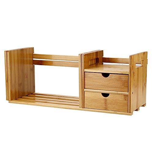 Desktop Bücherregal, Bambus Holz Ausziehbarer Desktop-Lagerregal mit 2 Schubladen für Schreibtisch Innendekoration Buchbearbeitung - Schublade Desktop
