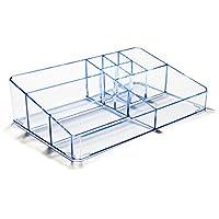 Boxalls Organizzatore Trucchi Trasparente in Acrilico con Scompartimento Alex Gioielli & Slot Cosmetici (Blu Trasparente)