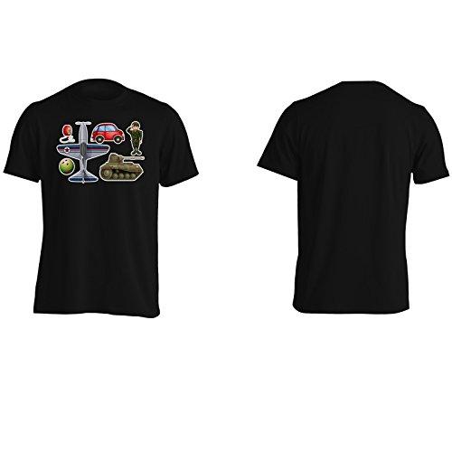 Soldato carro armato dell'automobile novità divertente Uomo T-shirt a799m Black