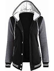 Babysbreath Mujeres Sudadera con capucha de revestimiento de botón de remiendo Outwear de manga larga con cordón de rayas Pocket Otoño de invierno con chaqueta de béisbol Sudadera Negro XL