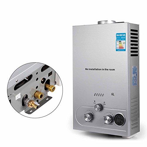 Anhon 6-18L LNG Warmwasserbereiter Gas Propan Durchlauferhitzer Tankless Instant Boiler mit Duschkopf und LCD Display (6L)
