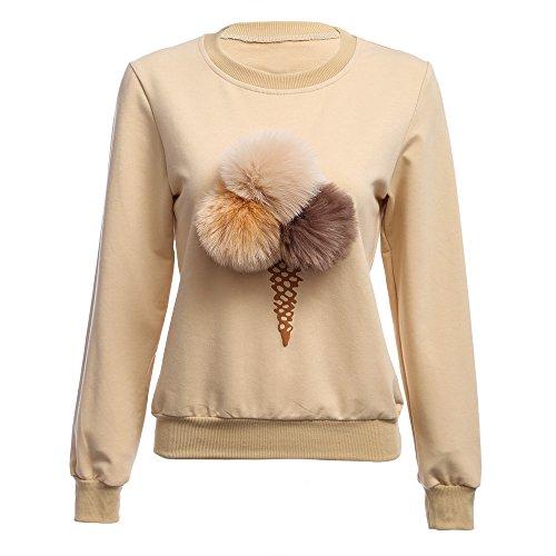 Hannea Chic Round Collar Long Sleeve Ice Cream Print Pompom Decoration Women Sweatshirt
