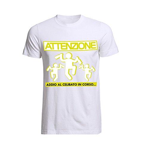 Altra marca t-shirt uomo maglietta per addii al celibato bianca personalizzata attenzione omini - l
