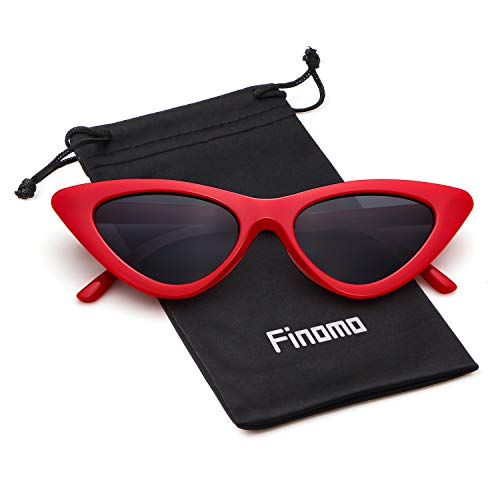 Finomo Gafas sol ojo gato Gafas Clout Vintage Mod