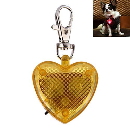 zl Mode herzförmigen Haustier Hund Katze Sicherheit LED-Blitz Anhänger Halskette (lila) (Farbe : Gelb) ()