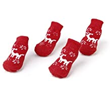 SODIAL(R) Calcetines antideslizantes de reno Proteccion de pata del gato perro de Navidad