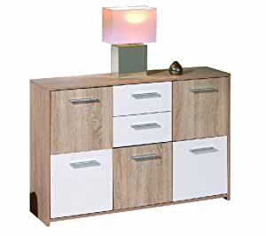 meuble de rangement 5 placards et 2 tiroirs coloris sonoma ch ne et blanc cuisine. Black Bedroom Furniture Sets. Home Design Ideas