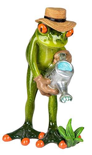 dekojohnson Dekofigur lustiger Frosch mit Gießkanne, hellgrün, 16 cm | inkl Geschenkkarte | Kunststeinfroschfigur als tolle Geschenkidee | Badezimmer Frosch mit frechem Grinsen 927071
