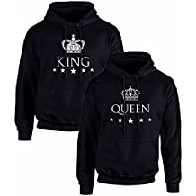 Pack de 2 Sudaderas Negras para Parejas, King y Queen, Blanco