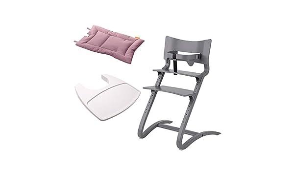 Erwachsenenstuhl mit Babyb/ügel Tablett wei/ß Hochstuhl Kissen dusty rose Kinderstuhl Leander Stuhl wei/ß