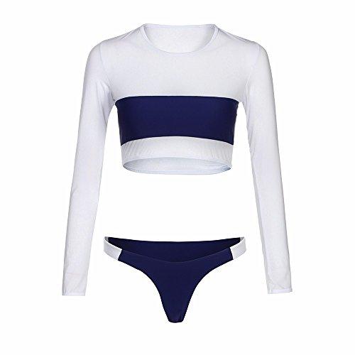 VJGOAL Damen Tankini, Frau Mädchen Mode Dünne Eis Seide Tight Push-up Gepolsterter BH Patchwork Bikini Set Badeanzug Bademode Baden (S, Marine) (Bluse Nylon-seide)