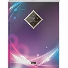 """TULPE Kariertes Notizbuch A4 """"C015 Futuristic"""" (140+ Seiten, Vintage Softcover, Doppelrand, Seitenzahlen, Register - Dickes Notizheft, Matheheft, ... Schulheft, Tagebuch, Kariertes Heft Nr 26)"""