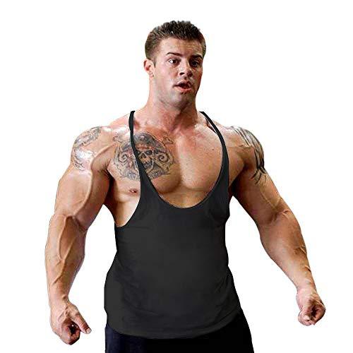 Zurück Elasthan (Alivebody Herren Bodybuilding Gym Tank Tops Stringer Y Zurück Schwarz L)