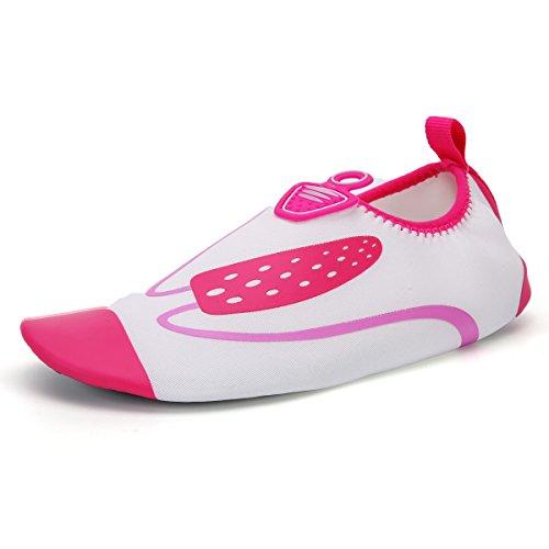 DoGeek Aquaschuhe Strandschuhe,Breathable Surfschuhe mit Rutschfeste Sohlen Weiche schnelltrockene rutschfeste Schwimmschuhe geeignet für Tauchen Schnorcheln Schwimmen fürDamen, Herren und Kinder weiß-Rot
