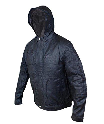 F&H Men's MI 4 Ghost Protocol Ethan Hunt Hooded Genuine Leather Jacket Black