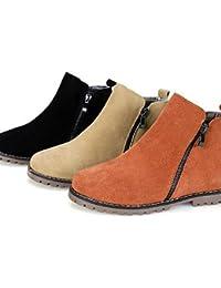 Ei&iLI Zapatos de mujer - Tacón Plano - Comfort / Botines / Punta Redonda / Punta Cerrada - Botas - Casual - Ante - Negro / Marrón / Beige , us10.5 / eu42 / uk8.5 / cn43