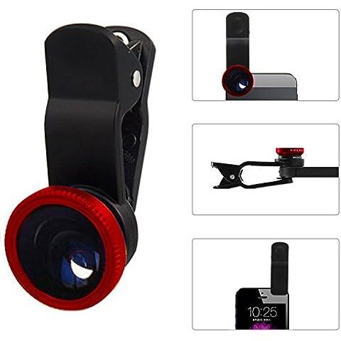 Aerb universale 3 in 1, obiettivo Fisheye 180°, grandangolo + 1 obbiettivo Macro, con Clip, per Apple iPhone 6 Plus/6S, 6/5S/5C/5/4S/4, iPad Air 2/1, iPad 2/3/4, iPad 3 Mini 1/2, Samsung Galaxy, S7 Edge/S7/S6/S6 Edge/S5/S4, Galaxy Note 2/3/4, Sony, Motorola Droid e altri smartphone, colore: rosso