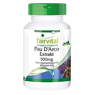 Pau D'Arco 500 mg, Lapacho-Extrakt, Rindenextrakt, vegan, 90 Kapseln