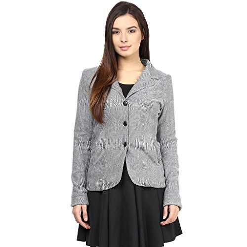 Knit Jacket In Blue Color With Lapel Collar