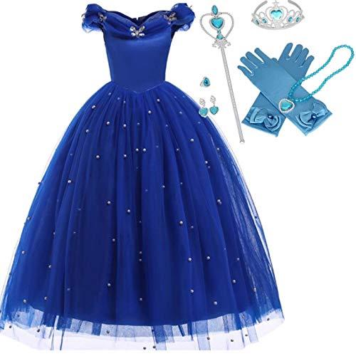 IWFREE Mädchen Kostüme Prinzessin Cinderella Verkleidung Faschingskostüm Karneval Cosplay Party Halloween Festkleid Kleider Geburtstag Party - Cinderella Kostüm Für Teenager