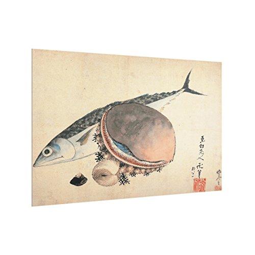 Bilderwelten Spritzschutz Glas Katsushika Hokusai Makrele Seemuschel - Quer 2:3, 40cm x 60cm