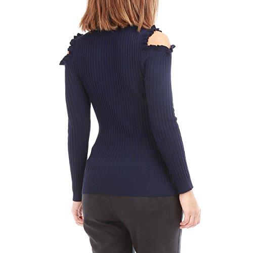 La Modeuse - Pullmeffetcôteléà manches longues épaules dénudées Bleu