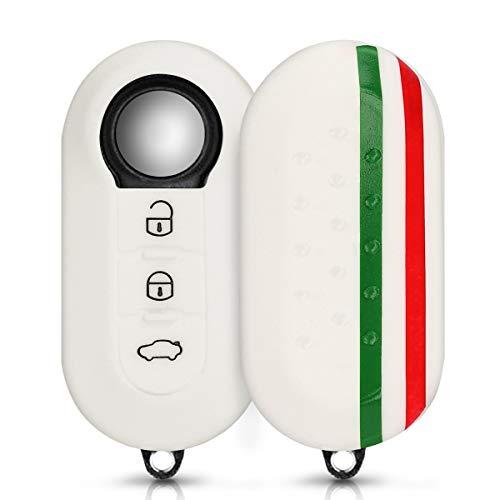 kwmobile Funda para Llave Plegable de 3 Botones para Coche Fiat Lancia - Carcasa Protectora Suave de Silicona - Case de Mando de Auto con diseño Bandera Italiana